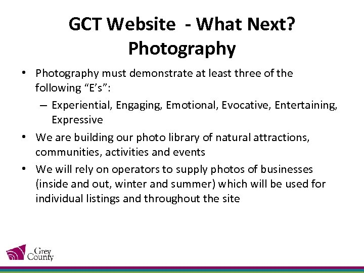 GCT Website - What Next? Photography • Photography must demonstrate at least three of