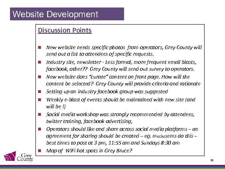 Website Development Discussion Points n n n n New website needs specific photos from