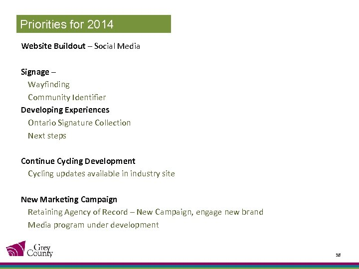 Priorities for 2014 Website Buildout – Social Media Signage – Wayfinding Community Identifier Developing