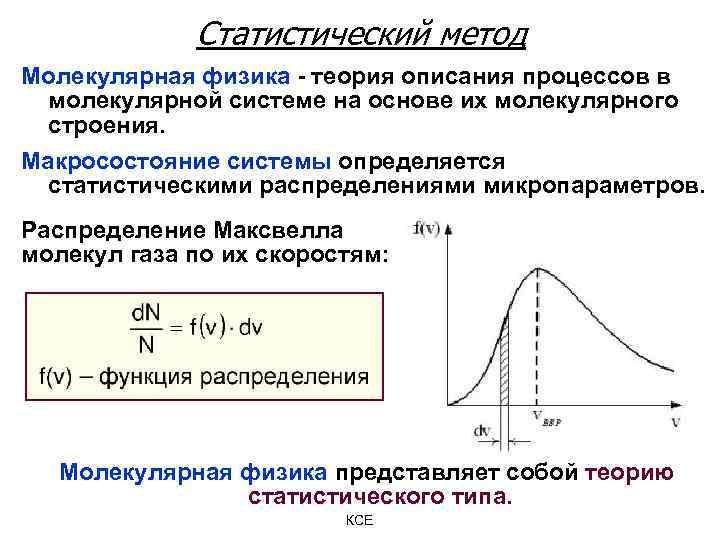 Статистический метод Молекулярная физика - теория описания процессов в молекулярной системе на основе их