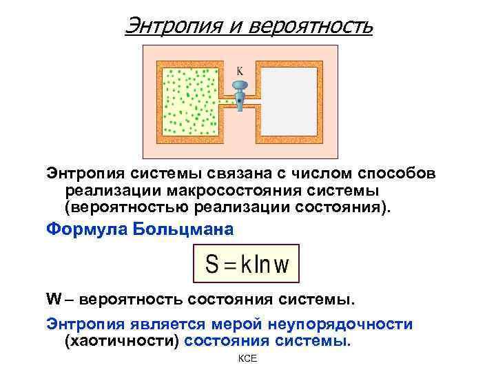 Энтропия и вероятность Энтропия системы связана с числом способов реализации макросостояния системы (вероятностью реализации