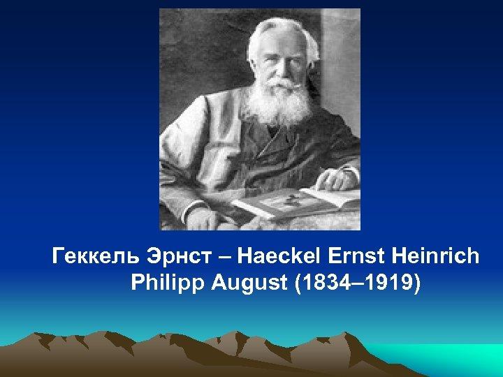 Геккель Эрнст – Haeckel Ernst Heinrich Philipp August (1834– 1919)
