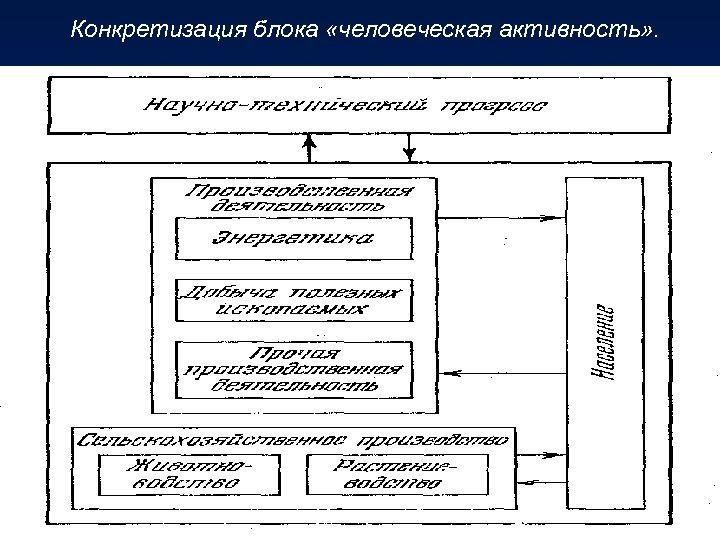 Конкретизация блока «человеческая активность» .