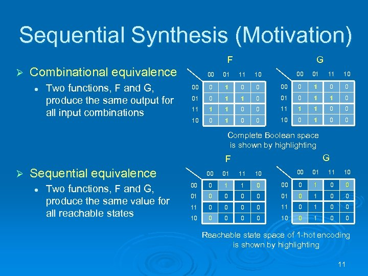 Sequential Synthesis (Motivation) F Ø Combinational equivalence l Two functions, F and G, produce