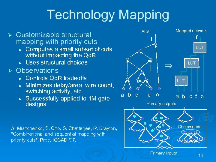 Technology Mapping Ø Customizable structural mapping with priority cuts l l Ø Mapped network