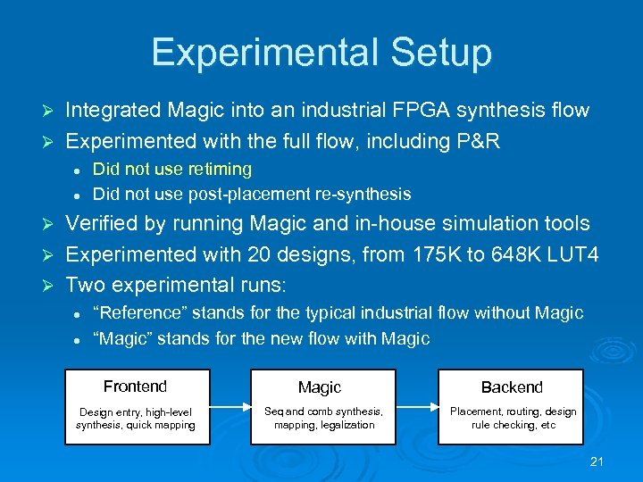 Experimental Setup Integrated Magic into an industrial FPGA synthesis flow Ø Experimented with the