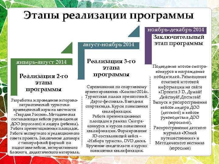 Этапы реализации программы ноябрь-декабрь 2014 август-ноябрь 2014 январь-август 2014 Реализация 2 -го этапа программы