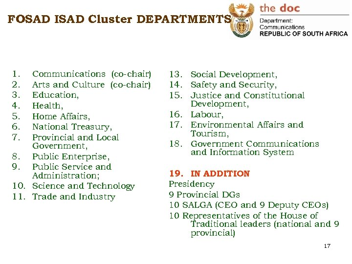 FOSAD ISAD Cluster DEPARTMENTS 1. 2. 3. 4. 5. 6. 7. Communications (co-chair) Arts