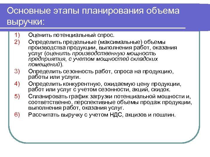 Основные этапы планирования объема выручки: 1) 2) 3) 4) 5) 6) Оценить потенциальный спрос.