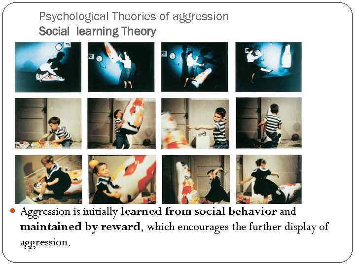 Psychological Theories of aggression Social learning Theory Aggression is initially learned from social behavior