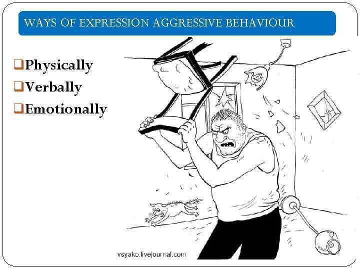 WAYS OF EXPRESSION AGGRESSIVE BEHAVIOUR q. Physically q. Verbally q. Emotionally
