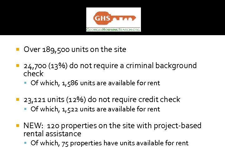 Over 189, 500 units on the site 24, 700 (13%) do not require