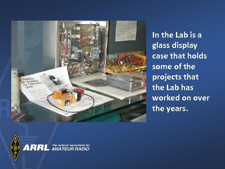 In the Lab is a glass display case that holds some of the projects