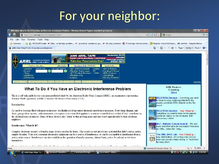 For your neighbor: