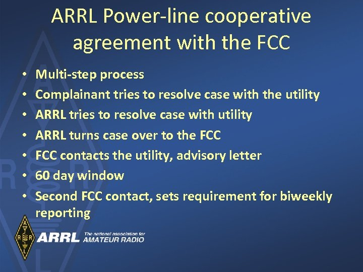 ARRL Power-line cooperative agreement with the FCC • • Multi-step process Complainant tries to