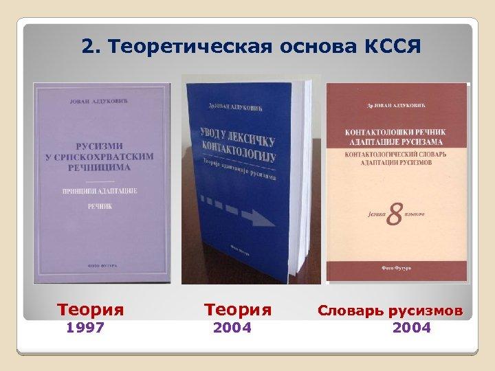 2. Теоретическая основа КССЯ Теория 1997 Теория 2004 Словарь русизмов 2004