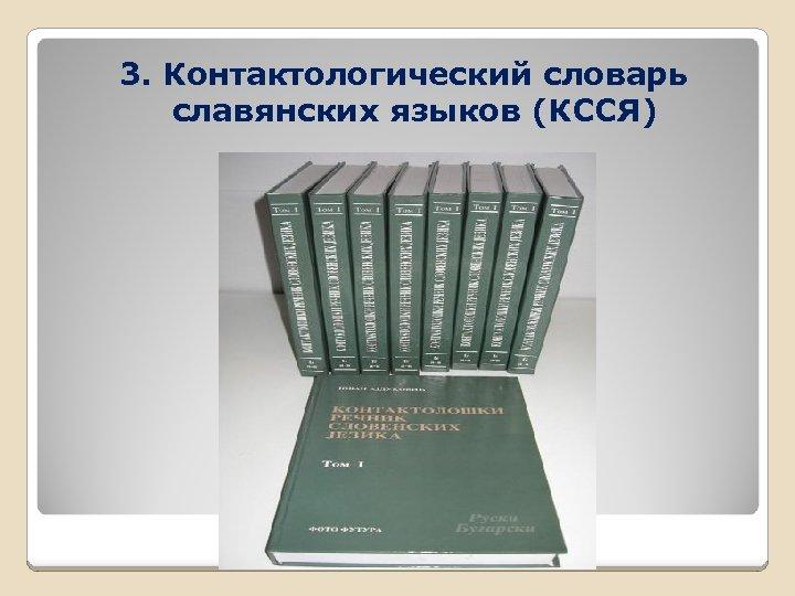 3. Контактологический словарь славянских языков (КССЯ)