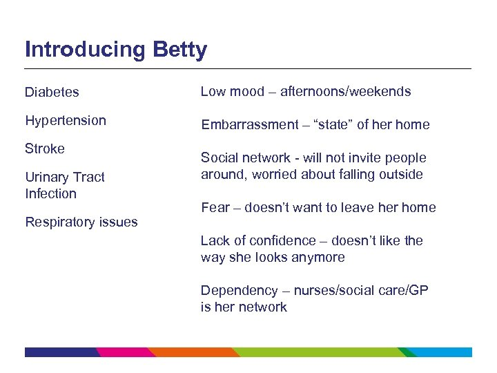 """Introducing Betty Diabetes Low mood – afternoons/weekends Hypertension Embarrassment – """"state"""" of her home"""