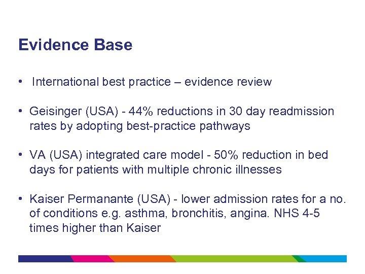 Evidence Base • International best practice – evidence review • Geisinger (USA) - 44%