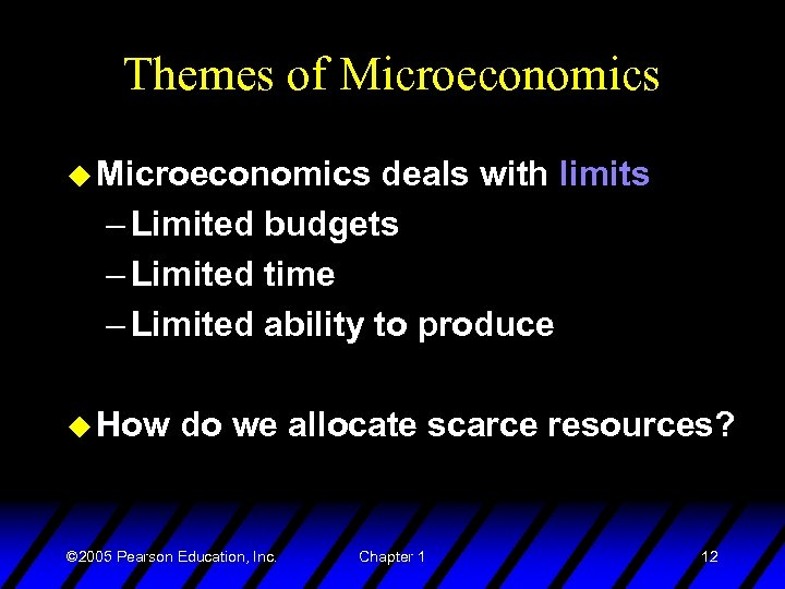 Themes of Microeconomics u Microeconomics deals with limits – Limited budgets – Limited time