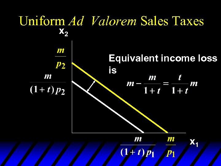 Uniform Ad Valorem Sales Taxes x 2 Equivalent income loss is x 1