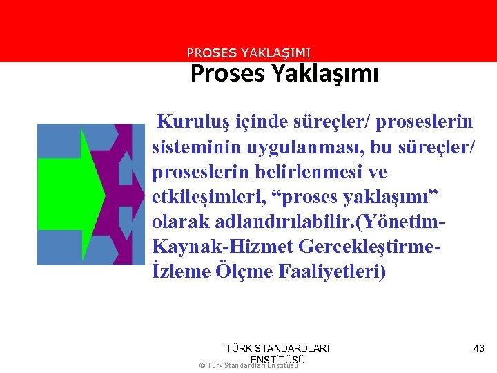 PROSES YAKLAŞIMI Proses Yaklaşımı Kuruluş içinde süreçler/ proseslerin sisteminin uygulanması, bu süreçler/ proseslerin belirlenmesi