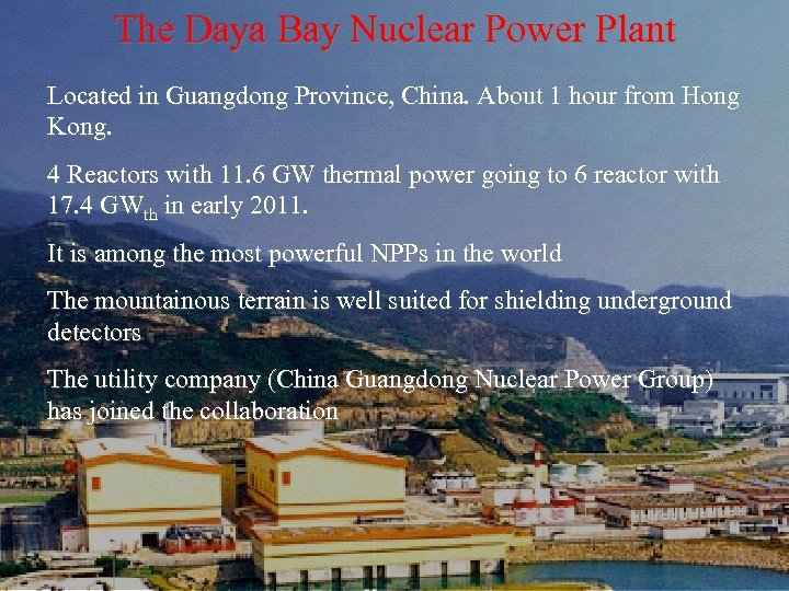 The Daya Bay Nuclear Power Plant Located in Guangdong Province, China. About 1 hour