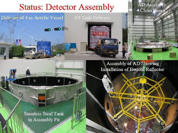 Status: Detector Assembly Delivery of 4 m Acrylic Vessel AD Assembly Clean Room SS