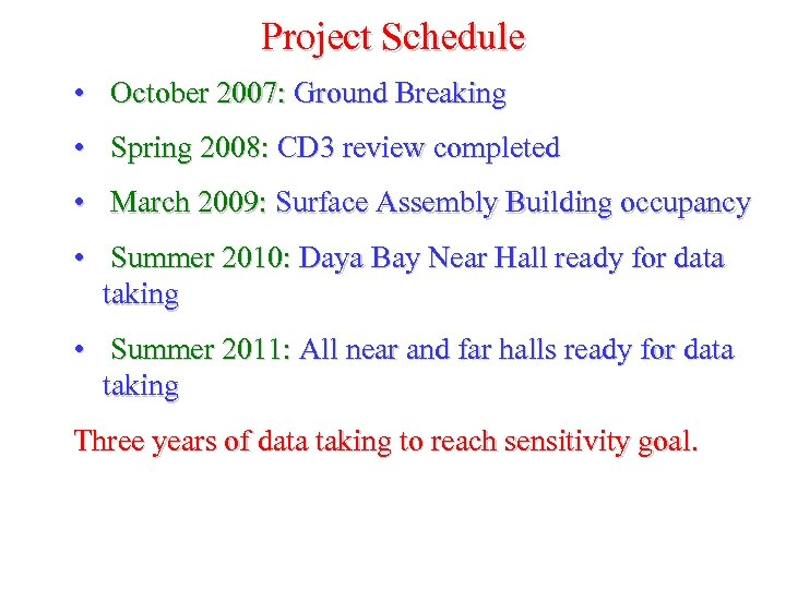 Project Schedule • October 2007: Ground Breaking • Spring 2008: CD 3 review completed