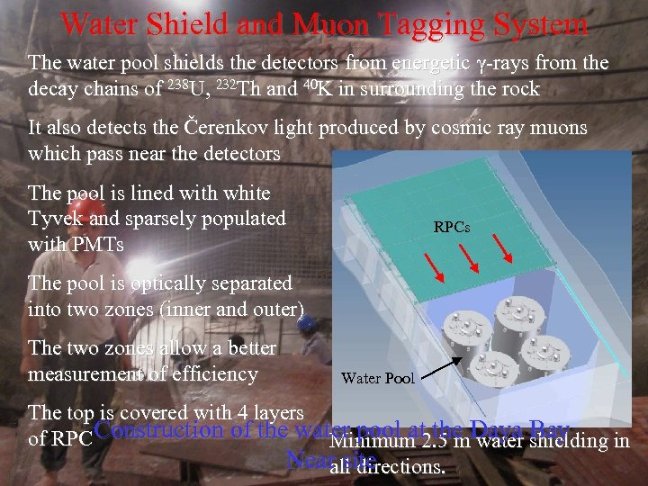 Water Shield and Muon Tagging System The water pool shields the detectors from energetic