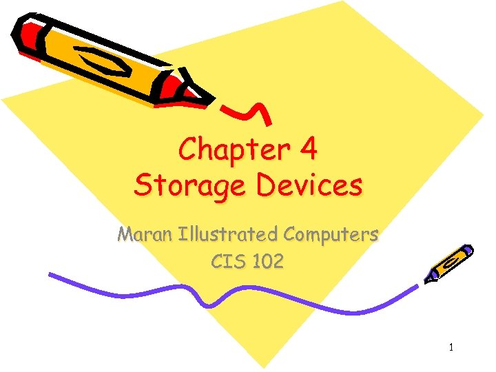 Chapter 4 Storage Devices Maran Illustrated Computers CIS 102 1