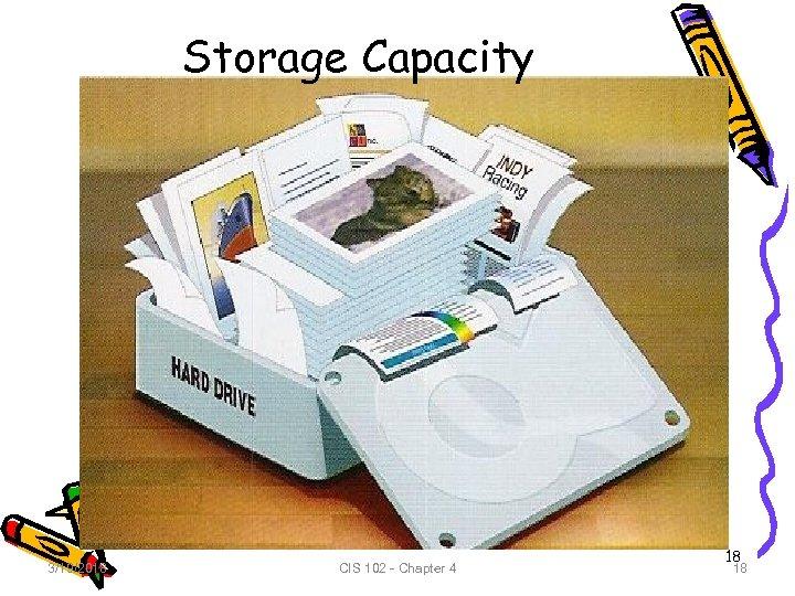 Storage Capacity 3/19/2018 CIS 102 - Chapter 4 18 18