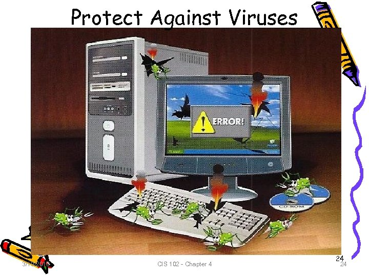 Protect Against Viruses 3/19/2018 CIS 102 - Chapter 4 24 24