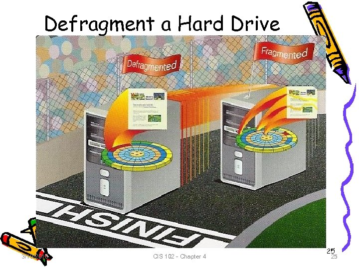 Defragment a Hard Drive 3/19/2018 CIS 102 - Chapter 4 25 25