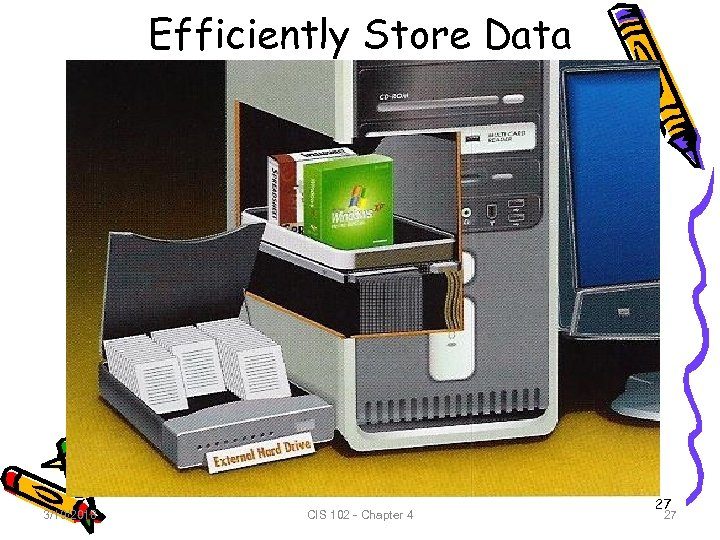 Efficiently Store Data 3/19/2018 CIS 102 - Chapter 4 27 27