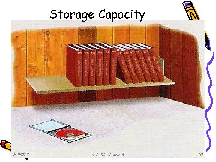 Storage Capacity 3/19/2018 CIS 102 - Chapter 4 33 33
