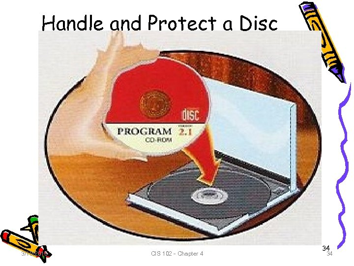 Handle and Protect a Disc 3/19/2018 CIS 102 - Chapter 4 34 34