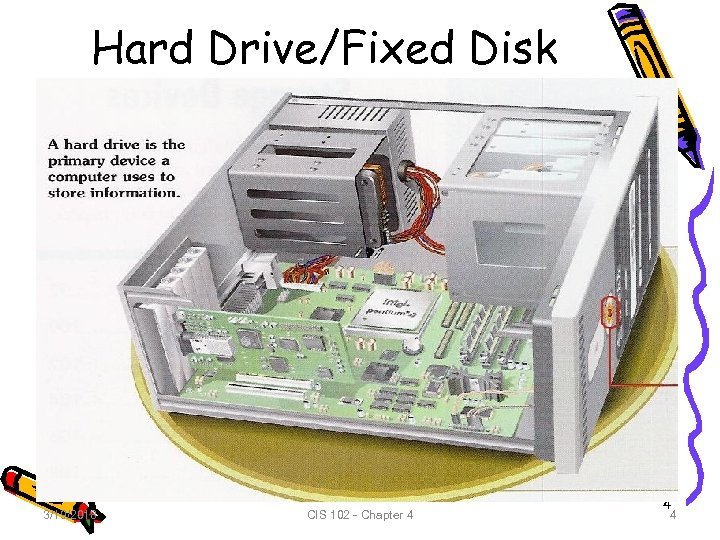 Hard Drive/Fixed Disk 3/19/2018 CIS 102 - Chapter 4 4 4
