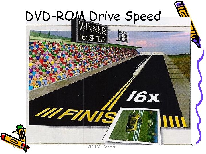 DVD-ROM Drive Speed 3/19/2018 CIS 102 - Chapter 4 43 43