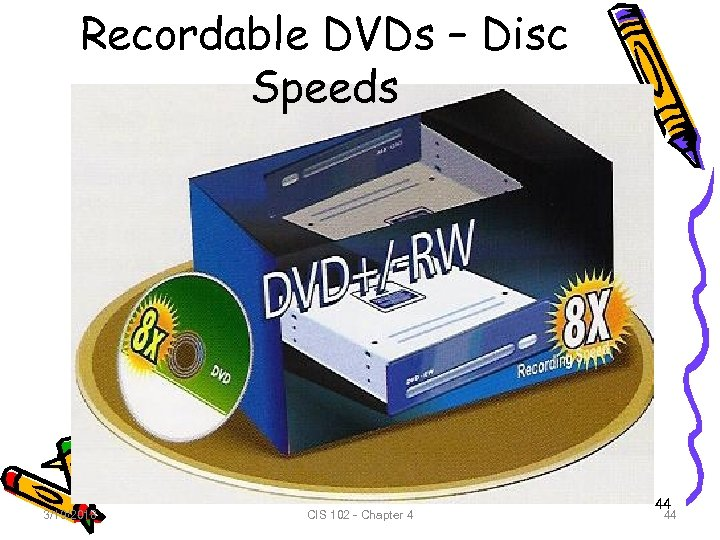 Recordable DVDs – Disc Speeds 3/19/2018 CIS 102 - Chapter 4 44 44