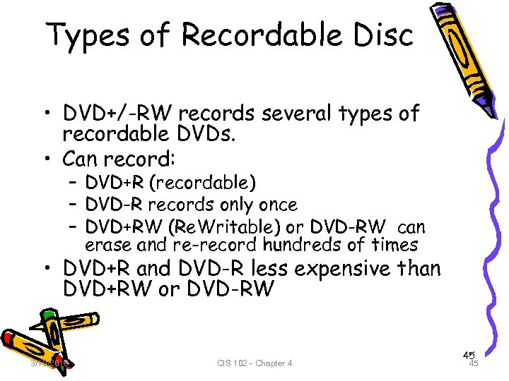 Types of Recordable Disc • DVD+/-RW records several types of recordable DVDs. • Can