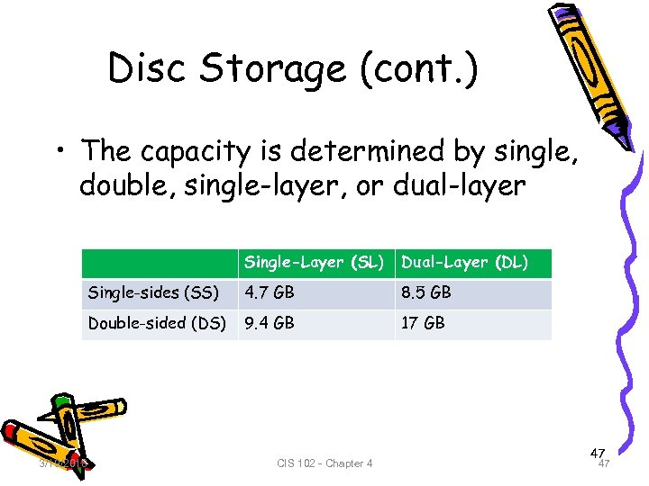 Disc Storage (cont. ) • The capacity is determined by single, double, single-layer, or