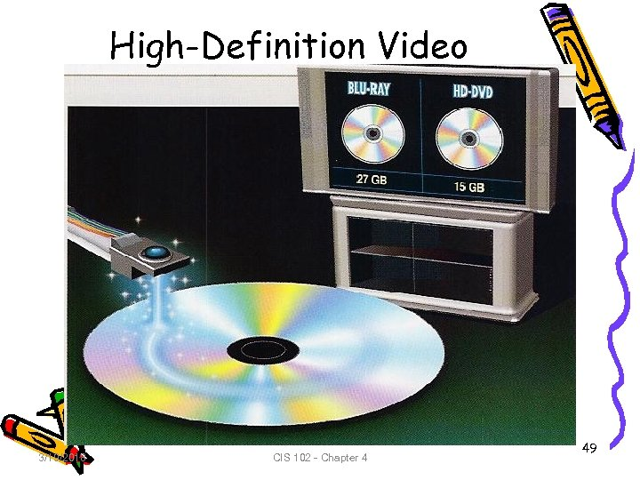 High-Definition Video 3/19/2018 CIS 102 - Chapter 4 49