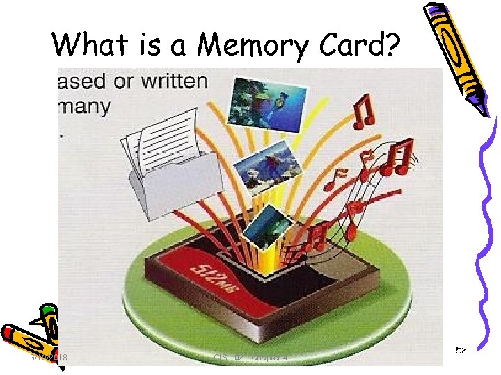 What is a Memory Card? 3/19/2018 CIS 102 - Chapter 4 52