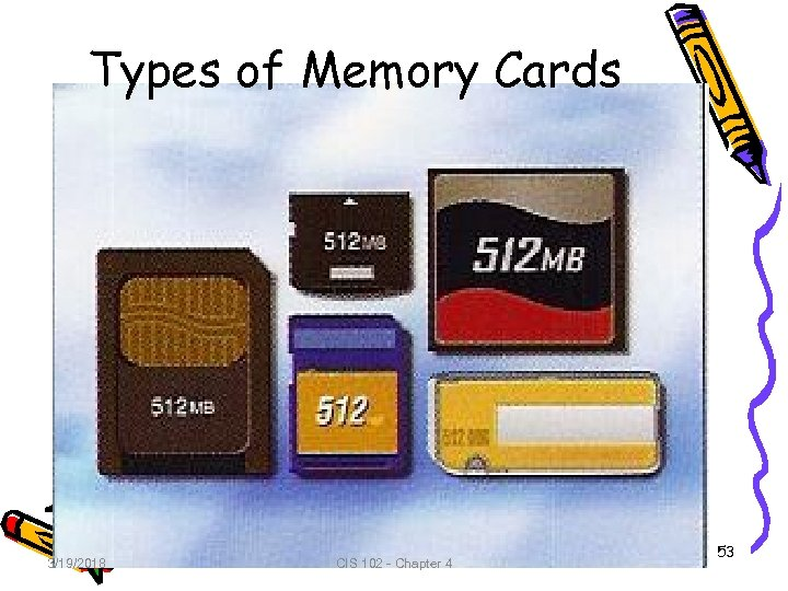 Types of Memory Cards 3/19/2018 CIS 102 - Chapter 4 53