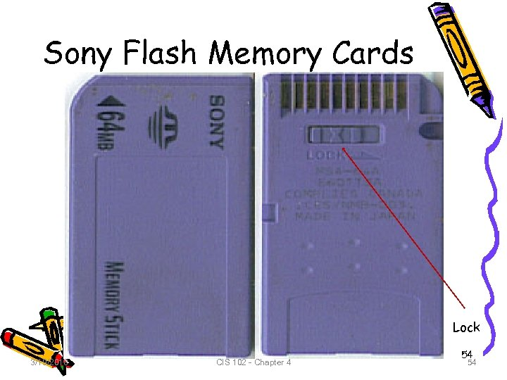 Sony Flash Memory Cards Lock 3/19/2018 CIS 102 - Chapter 4 54 54