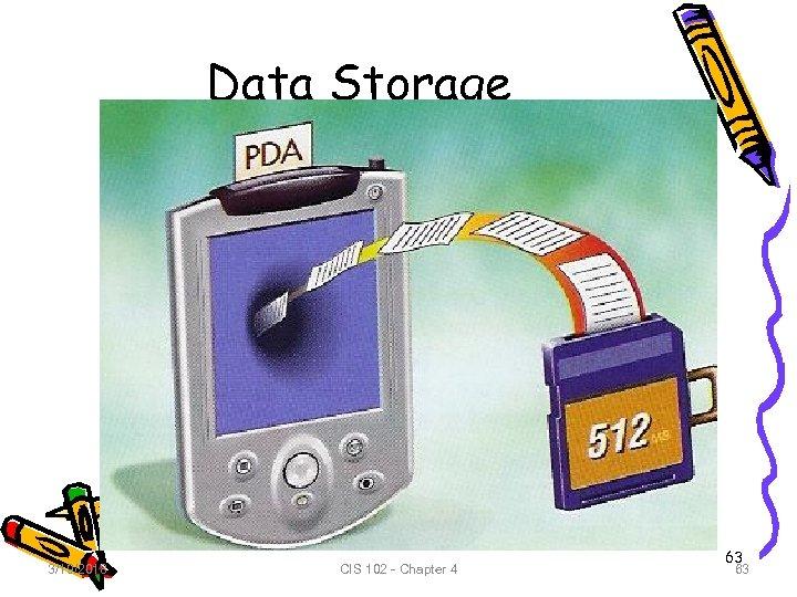 Data Storage 3/19/2018 CIS 102 - Chapter 4 63 63