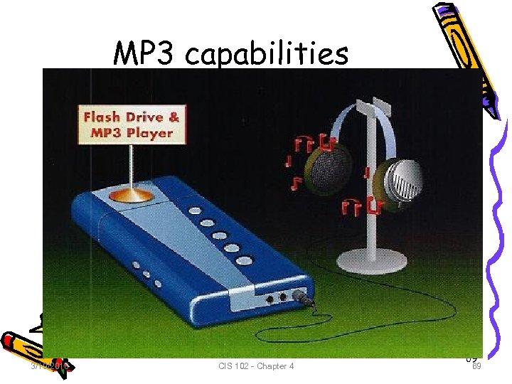 MP 3 capabilities 3/19/2018 CIS 102 - Chapter 4 69 69
