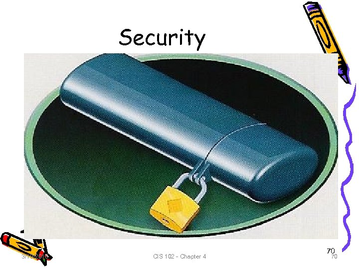 Security 3/19/2018 CIS 102 - Chapter 4 70 70
