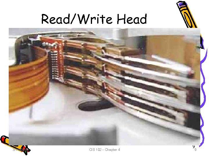 Read/Write Head 3/19/2018 CIS 102 - Chapter 4 9 9